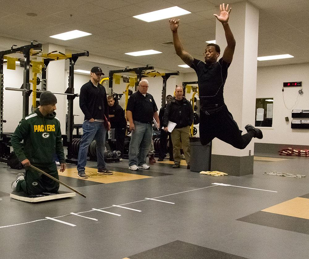 Former Appalachian State quarterback Jamal Londry-Jackson leaps through the air in the broad jump drill during Monday's Pro Day at the Appalachian Athletics Center. Photo courtesy of Tyler Buckwell  |  Appalachian State Athletics